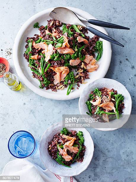 Black rice, salmon and broccolini