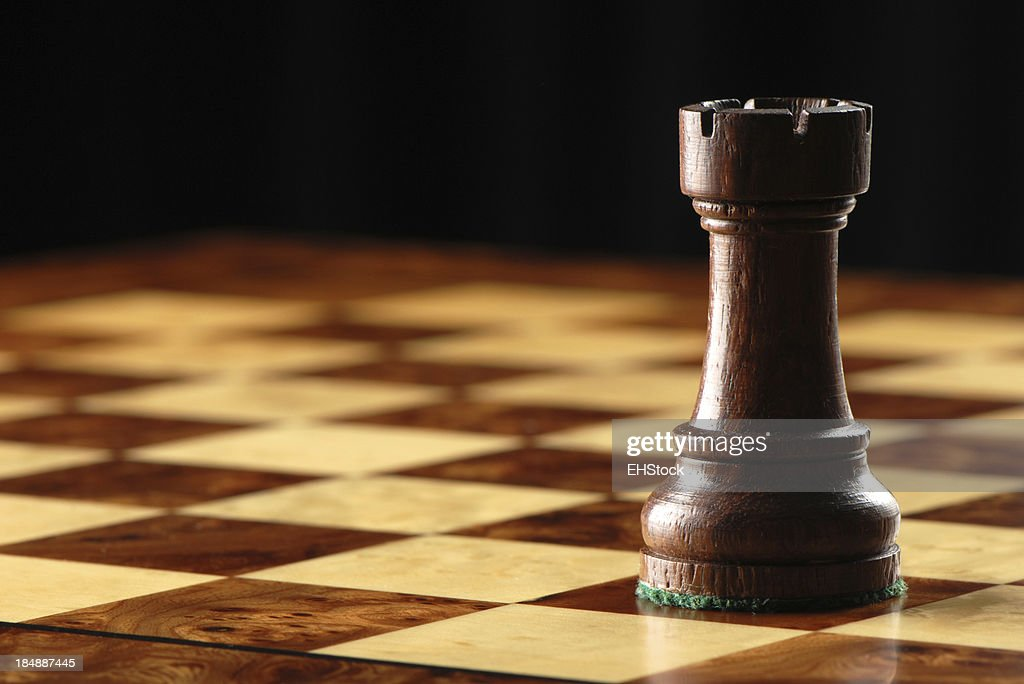 Black Rook on Chessboard