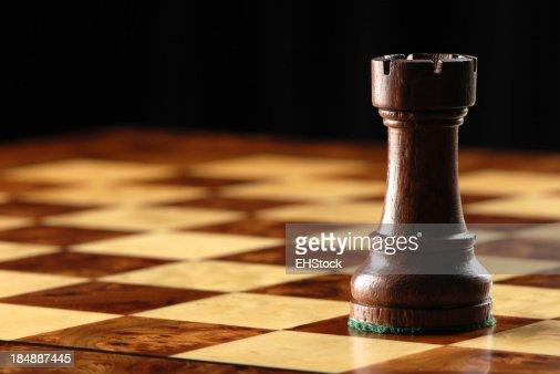Black Rook on Chessboard