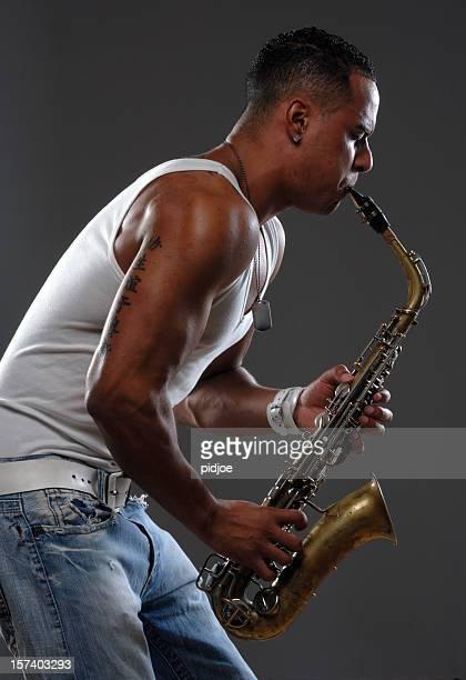 black saxophone player