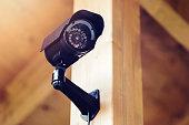 black security surveillance camera