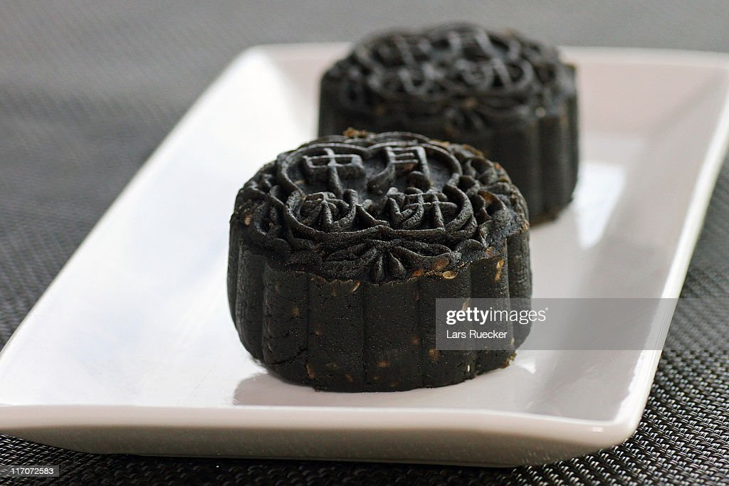 Black sesame mooncake : Stock Photo