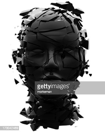 Black shattered head facing directly at viewer