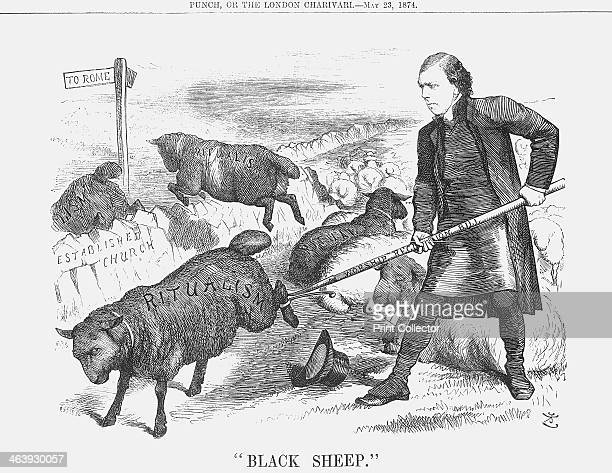 Black Sheep 1874 This cartoon shows the Archbishop of Canterbury rooting out the black sheep from amongst his flock and sending them back towards...