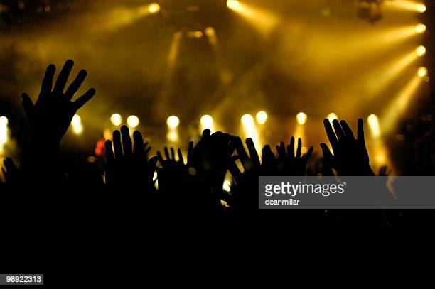 Black silhouettes of hands held up high at a concert