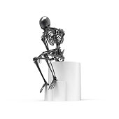 Black skeleton sitting pose