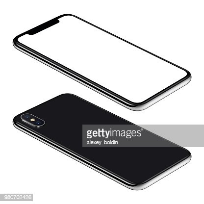 Black smartphone mockup front and back sides isometric view CCW rotated lies on surface : Foto de stock