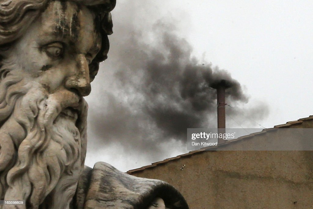 Black smoke billows from the chimney on the roof of the Sistine Chapel indicating that the College of Cardinals have failed to elect a new Pope on March 13, 2013 in Vatican City, Vatican. Pope Benedict XVI's successor is being chosen by the College of Cardinals in Conclave in the Sistine Chapel. The 115 cardinal-electors, meeting in strict secrecy, will need to reach a two-thirds-plus-one vote majority to elect the 266th Pontiff.