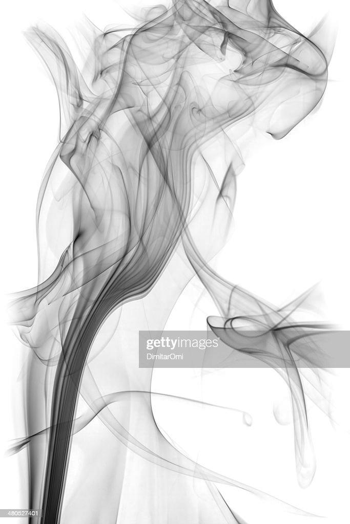 black smoke isolated on white background : Stockfoto