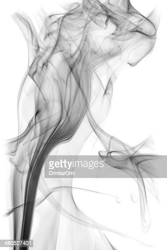 black smoke isolated on white background : Stockfoto