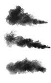 Black smoke cloud isolated on black background