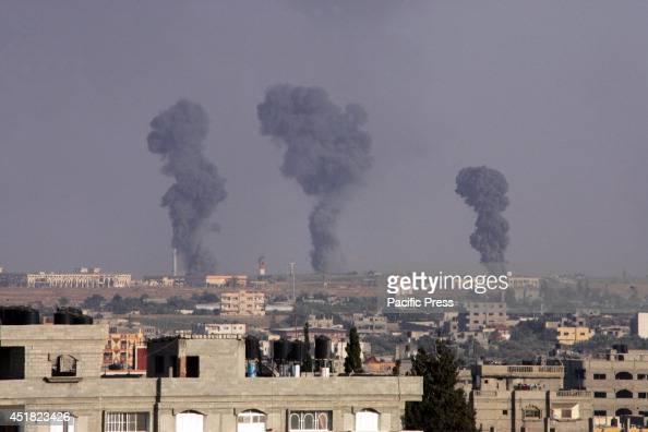 Black smoke rises following an Israeli air strike on the Gaza International Airport in Rafah Israeli air strikes on Gaza killed eight Palestinian...