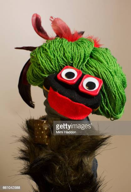 Black Sock Puppet with Fake Fur Coat and Green Hair