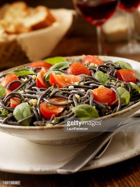 Black Spaghetti With Fresh Basil