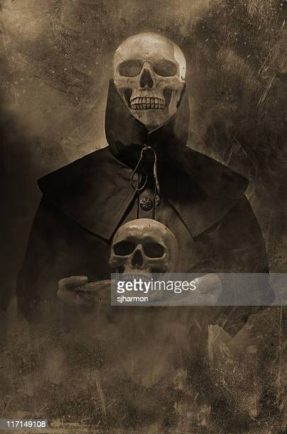 Black Spirit of Death holding skull on platter smoke occult