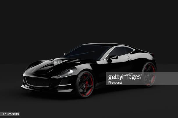 Schwarz sport Auto auf dunklem Hintergrund