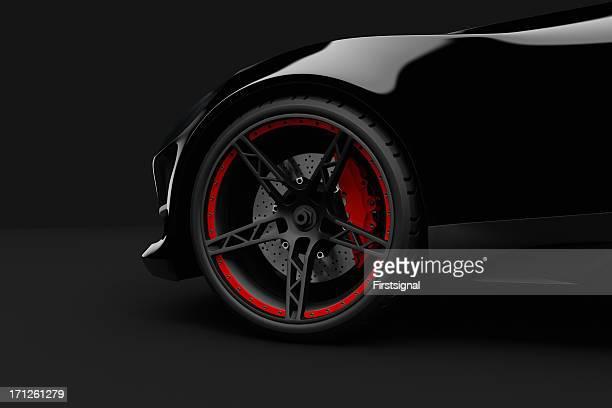Auto sport nero su sfondo scuro