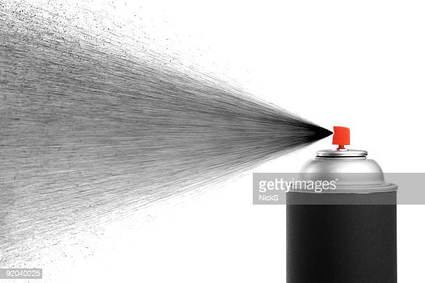 A black spray can spraying black