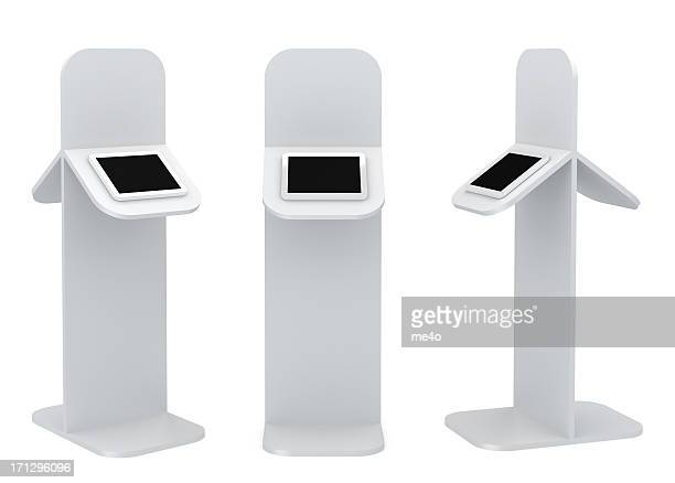 Black standing platform with tablet display