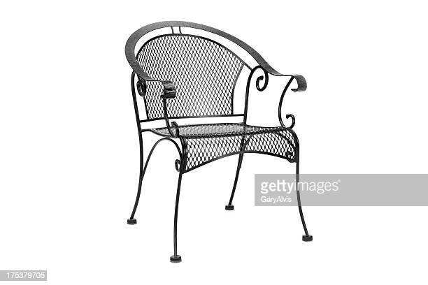 black steel patio chair
