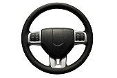 Car steering wheel over white.