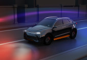 Black SUV driving on the road with graphic mesh pattern retouched. night traffic.  3D rendering image.