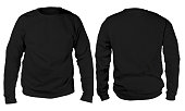 Blank sweatshirt mock up template, front, and back view, isolated on white, plain black long sleeved sweater mockup. T-shirt design presentation. Jumper for print. Blank clothes sweat shirt sweater