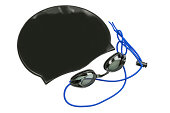 A plain black swim cap and competition swim goggles on a white background