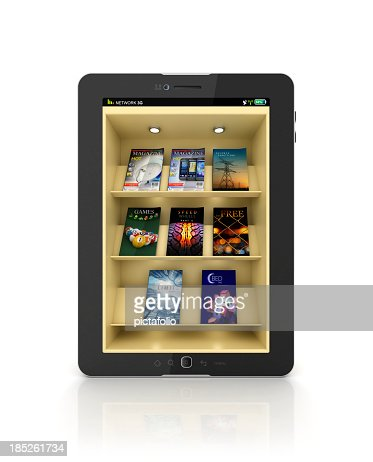 Black tablet showing a book store or library app with shelf : Stock Photo