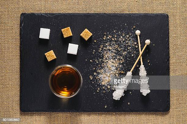 Black Tea and Sugar on Rustic Stone Tray