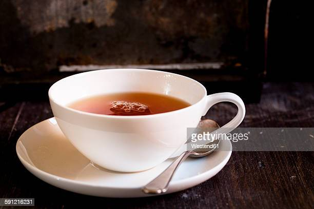 Black tea in white porcellain cup