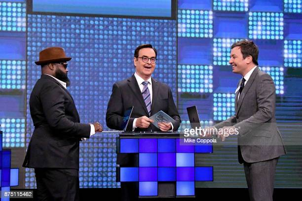 Black Thought of The Roots Comedian Steve Higgins and Jimmy Fallon play a trivia game on 'The Tonight Show Starring Jimmy Fallon' at Rockefeller...