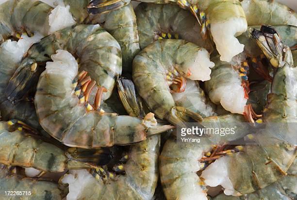 Crevette tigrée, crevettes de fruits de mer crus, des crustacés la Pile