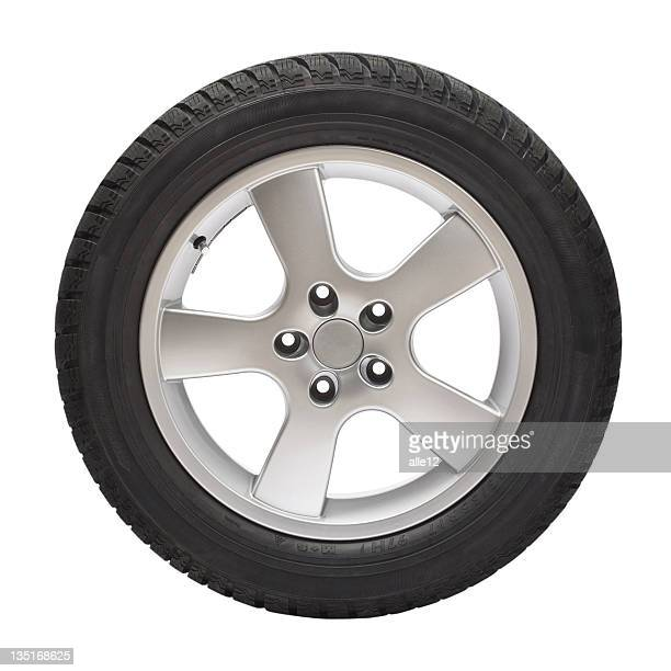 Black tire with steel wheel on white background