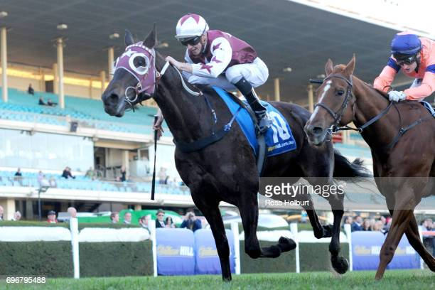Black Tomahawk ridden by Jye McNeil wins the Silver Thomas Hanley Plate at Moonee Valley Racecourse on June 17 2017 in Moonee Ponds Australia