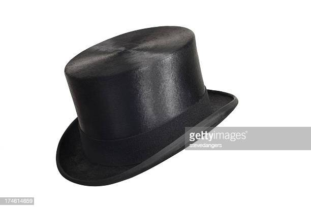 A Black Top Hat on a White Background