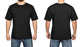 black t-shirt on a young man isolated white background, front and back