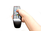 black TV remote in hand isolated on white background