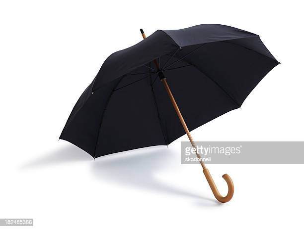 Black Umbrella Isolated on a White Background