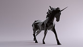 Black Unicorn made out of triangles 3d illustration