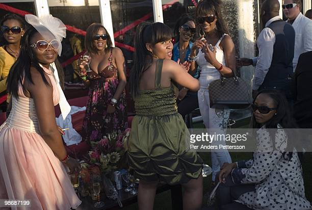 Black upmarket people attend the annual Durban July horse race on July 5 in Durban South Africa It's the biggest social event of the winter season...