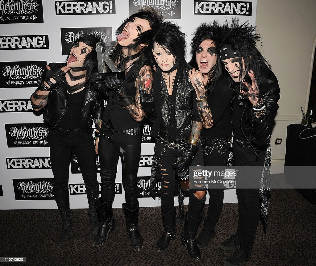 Black Veil Brides with their Best International Newcomer award during The Relentless Energy Drink Kerrang! Awards at The Brewery on June 9, 2011 in London, England.