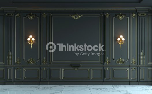 Black Wall Paneling : Black wall panels in classical style with gilding d