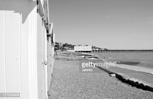 Black white beach huts stock photo