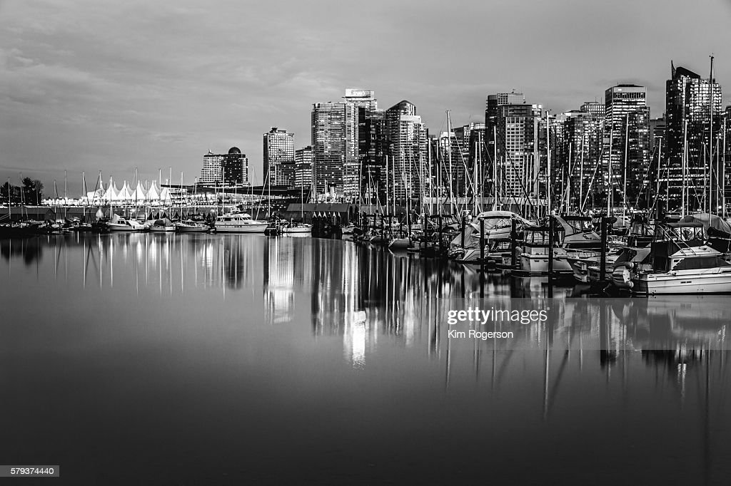 Black & White Coal Harbour & Canada Place reflect on the waters, Vancouver, Canada