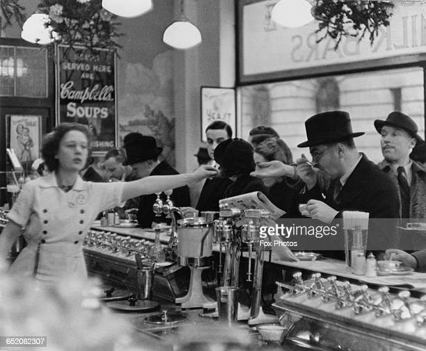A Black White milk bar on Fleet Street London circa 1935