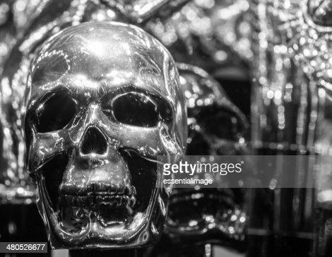 Nero & bianco Silver Skull : Foto stock
