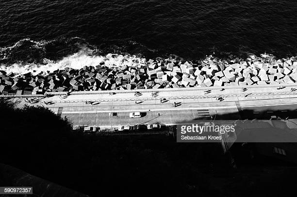 Black & White View on street & sea, Donostia Spain