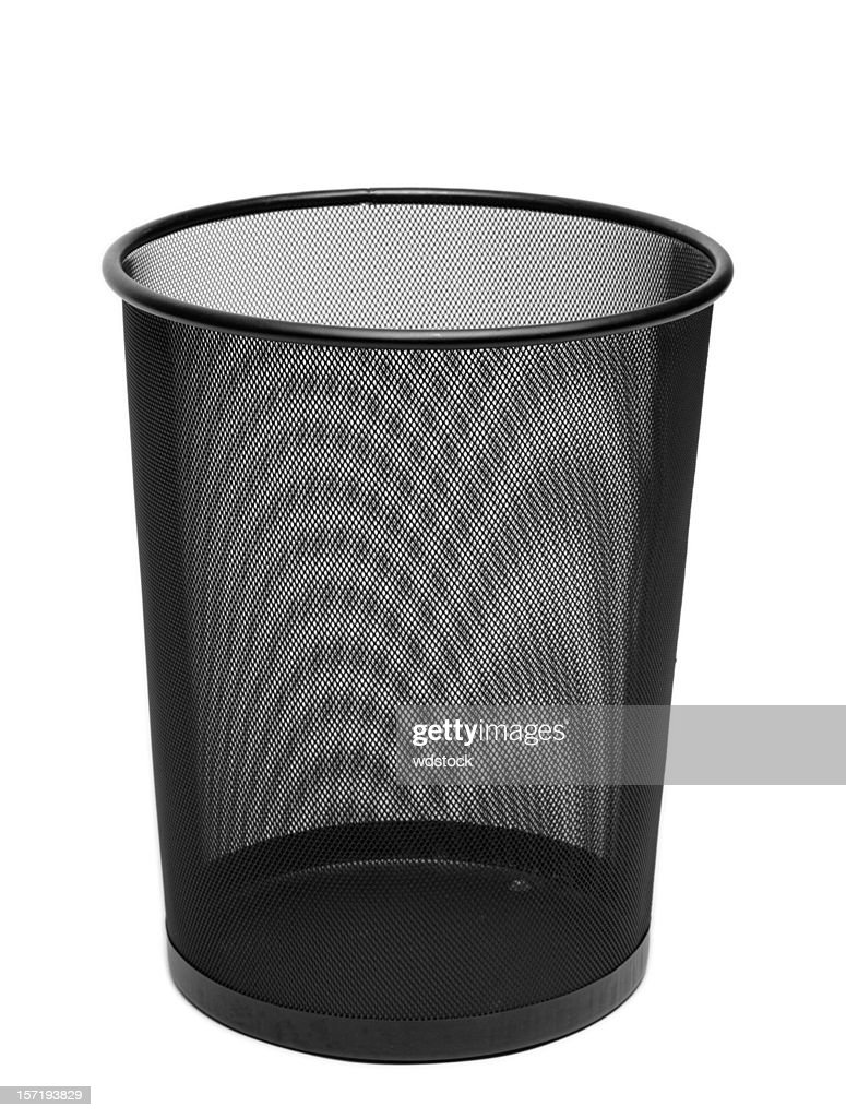 Black Wire Mesh Trash Can Isolated on White