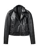 Black woman leather jacket isolated on white